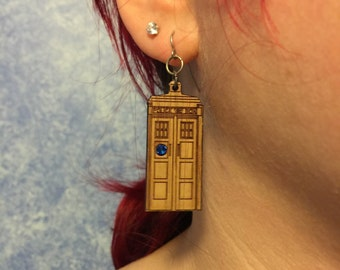 Bamboo & Tardis Blue Crystal Police Box earrings