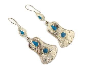 Boho Earrings, Vintage Earrings, Silver, Kuchi Gypsy, Kazakh, Kazakhstan, Afghan Jewelry, Bohemian, Statement, Turquoise, Long, Belly Dance