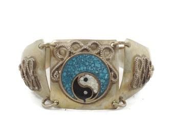 Ying Yang Bracelet, Vintage Bracelet, Silver Metal, Turquoise Inlay, Black White, Boho Bohemian, Gypsy, Festival Jewelry, Ethnic Tribal