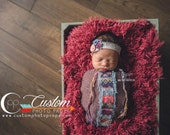 CLEARANCE Newborn Flokati Photo Props, Cabernet Red Faux Fur Newborn Photo Props, BaSkeT StuFFeR Fur Baby Photography Props, Soft, Christmas