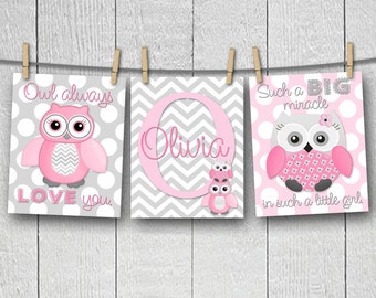 Set of 3 Personalized Pink Gray Chevron Zig Zag Owls Name Saying Girls Bedroom Nursery 8 x 10 ART PRINTS