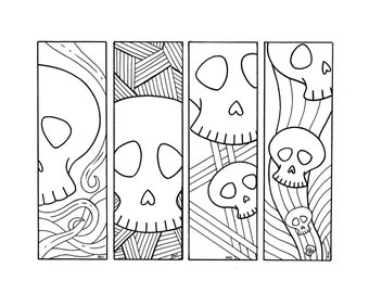 halloween bookmarks colouring skulls digital download