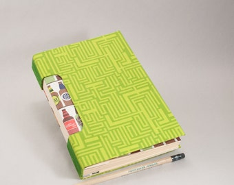 Hand-Bound Journal, Notebook, Sketchbook or Guestbook in Bright Lime Green with Beer Bottle Endpages