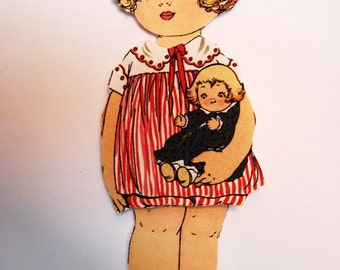 Fabric Paper Doll playset travel toy  - Molly