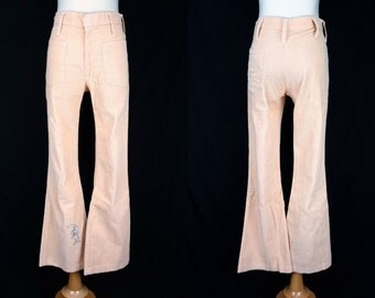Corduroy Pants Wide Leg Flared Boot Cut Mid Rise Small Cartoon Trix Rabbit 1970s Peach