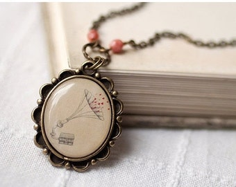 Love Home necklace - Valentines Day gift - Vintage style necklace - Retro jewelry  (N017)