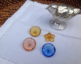 Vintage Czech Glass Colored Buttons
