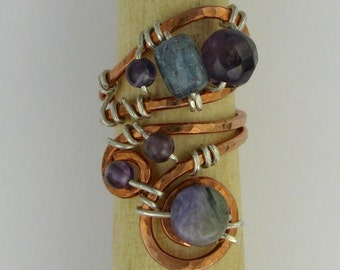 Kyanite, amethyst, charoite, copper and silver wire wrapped adjustable statement ring DTPD