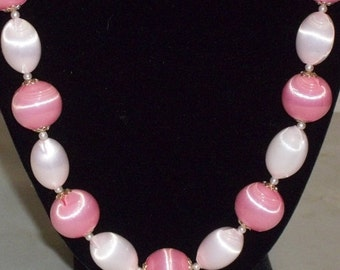 HOT SALE Vintage Pink Bold Beads Beaded Necklace Japan Shiny