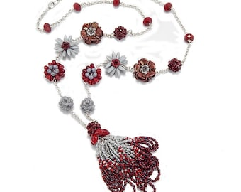 22 Inch Red and Gray Beadwork Necklace - Swing Time