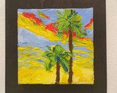 PALM TREE PAINTING,  original oil painting,  tiny painting for room decor,  gift idea for valentine's day
