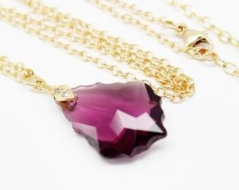 Purple Necklace Gold, Eggplant Amethyst Baroque Swarovski Elements Vermeil Clear Cubic Zirconia Bridal Bridesmaids Wedding Jewelry
