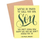 Funny Congratulations Card | Funny Card for Son | Mother Son Card | Father Son Card - Screwed Up Son