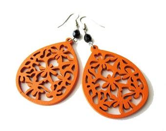 Orange Teardrop Filigree Lazer Cut Wooden Earrings with Black Glass Beads