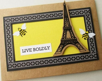LIVE BOLDLY Greeting Card. Eiffel Tower. Inspired by the Movie Me Before You
