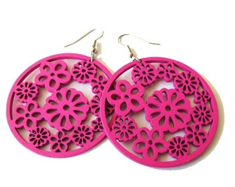 Large Fuchsia Pink Circle Wooden Flower Earrings