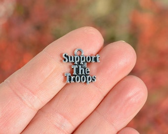 5  Silver Support the Troops Charms SC3742