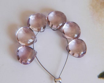 Pink Amethyst Smooth Heart Briolettes (6)