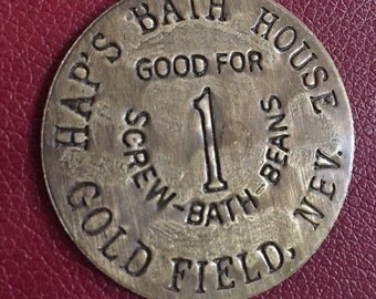 Vintage Antiqued Brass Brothel Token- Haps Bath House- (Prices reflect 50% off special)