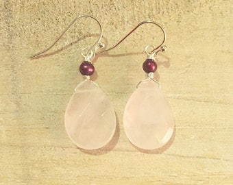 Faceted Rose Quartz Teardrop and Cranberry Pearl Earrings on Sterling Silver