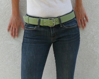 Green and white fabric belt - Women fabric belt - Vegan belt - Fabric belt with metal buckle - Green and white polka dots belt - All size