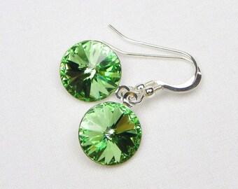 Swarovski Jewelry - Green Stone - Swarovski Earrings - Peridot - Gift For Her - Dangle Earrings - August Birthstone