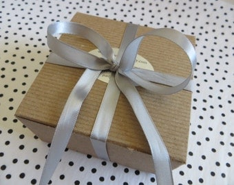 Gift Wrap,  Premium Black Dot tissue paper and Silver Satin Ribbon
