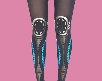 Tribal, printed opaque navy tights, opaque tights collection