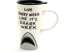 Shark week ceramic travel mug