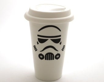 Star Wars (R) Storm trooper (R)  travel mug - porcelain double walled eco cup with white flexible lid - gift for him