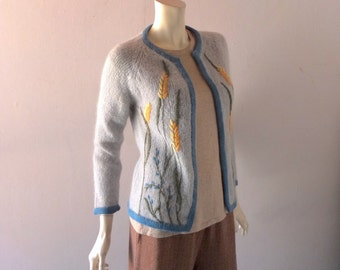 Vintage Mohair Cardigan Sweater - Embroiderd Flowers & Periwinkle Trim - Pale Blue - Size 2 4 6 Sm MED - Retro 50s 60s Winter Fashion
