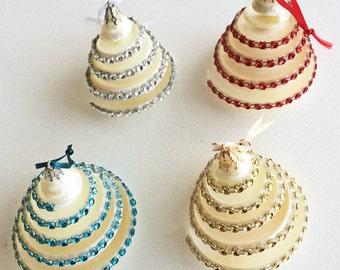 "BEACH DECOR CHRISTMAS Ornament, Nautical  Christmas Ornament, Shell Christmas ornament, Coastal Christmas Bling ornament, 2.5"""