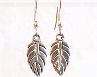 Small Antiqued Silver Leaf, Pierced Earring