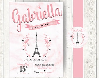 Eiffle tower Invitaion with Crystal and Belly Band // Paris Theme Invitation // Birthday or Bridal Shower Invitation
