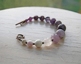 Beaded Bracelet Purple Amethyst Ombre Jewelry Purple Wedding