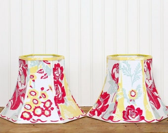 Vintage Tablecloth Lamp Shade - Floral Lamp Shade - Lampshade - Red and Yellow Lamp Shade - Cottage - Red Floral Lamp Shade - Bell Shade