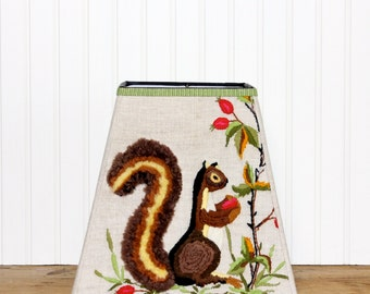 Embroidered Lamp Shade - Cabin Decor - Lamp Shade - Square Lamp Shade - Vintage Linen - Squirrel - Children's Lamp Shade - Rustic - Brown