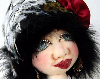 "Cloth Art Doll  (E_PATTERN) ""Caroline, The Showgirl Diva 20"" by Caroline Erbsland"