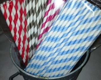 Get Organized SALE- Sale- PINK Only 25 Stripe Paper Straws, Mason Jars Straws, Party Straws, Birthday Straws