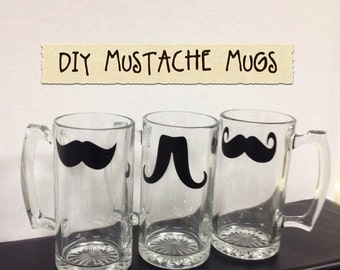 Get Organized SALE- DIY Mustache Beer Mugs-Mustache Chalkboard Labels, Handmade Christmas Gifts, Wedding Favors, MOVEMBER Mustaches