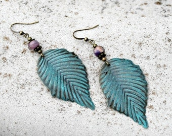 Aqua Blue Leaf Dangle Earrings, Bohemian, Boho Dangles, Tribal Jewelry, Bohemian Czech Glass, Southwestern, Lightweight