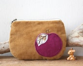 Soft caramel cord and magenta velvet apple coin purse