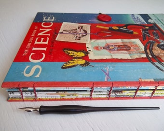 Science Sketchbook, Plein-Air Journal, re-purposed vintage book with watercolor and multimedia papers
