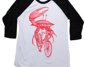unisex MENS Crab on a Bicycle - Baseball Tee - American Apparel