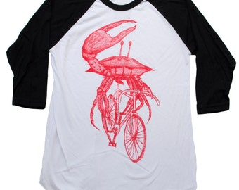 Crab on a Bike Baseball- Raglan Tee, Mens T Shirt, Unisex Tee, Cotton Tee, Handmade graphic tee, Bicycle shirt, Bike Tee, sizes xs-xxl