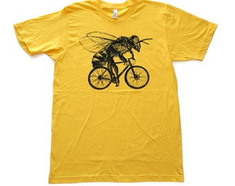 Bee on a Bike- Mens T Shirt, Unisex Tee, Cotton Tee, Handmade graphic tee, Bicycle shirt, Bike Tee, sizes xs-xxl