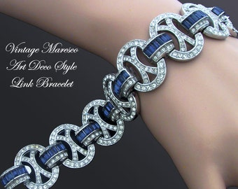 Maresco Sapphire and Clear Rhinestone Link Bracelet Art Deco Style Vintage 1980s Gift for Her