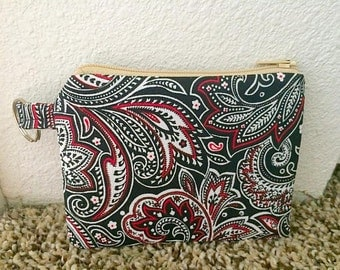 Red, White, Black Feathers, Zippered Pouch/Coin Purse
