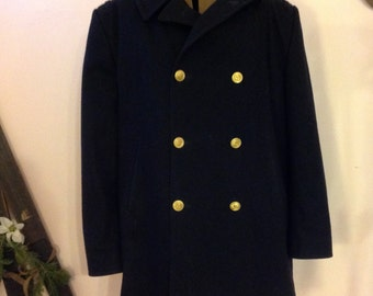 Vintage US Navy Wool Officer Trench Coat