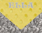 Minky Baby Blanket, Personalized Silver Rose Swirl & Yellow Stroller